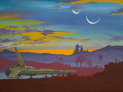 Sunset on Planet Aramon traditional painting science fiction moons illustration spaceship acrylic painting acrylic sunset painting sunset outer space