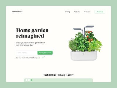 HomeForest - Indoor garden 🌿 typography ux ui nature landing design popular shot popular design trending ui products website design web design