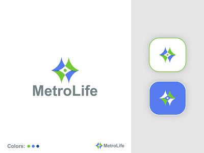 MetroLife-Medical health logo design | Branding health symbol typography illustration mobile print branding minimal logo design logo medical health medical health