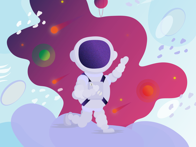 Spaceman design abstraction chaotic moon vector child illustration cartoon space