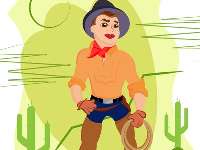 A cowboy cartoon simple illustration rodeo cactus west cowboy