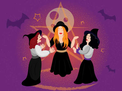 Witches cartoon october illustration adobe vector halloween magic power witch