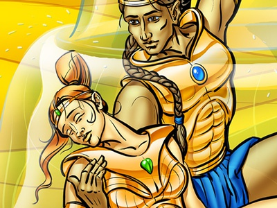 Fountain of life illustration digital fantasy cover warrior desert fountain life photoshop painter