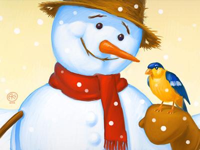 Snowman illustration digital snowman winter bird christmas tree