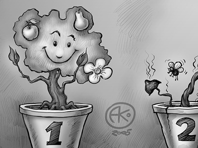 Two Flower Pots illustration digital ink comic plant growth fruit decay fly
