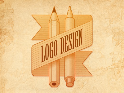 Badge Logo Design illustration vector icon badge logo design pencil pen ribbon