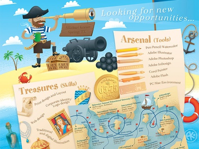 Resume Infographic coin anchor sailboat map cannon crab sea ocean pirate illustration self-promotion