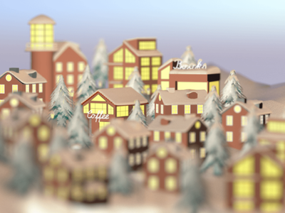 3D City 🏙️ coffee winter snow city 3d