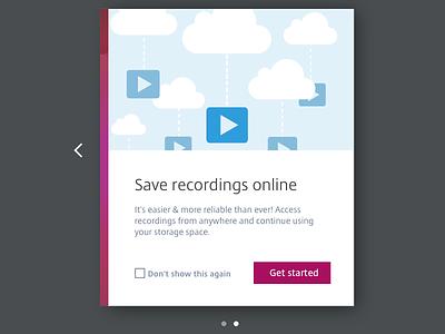 Cloud storage vector graphic opt in splash screen slides onboarding storage play video saving cloud