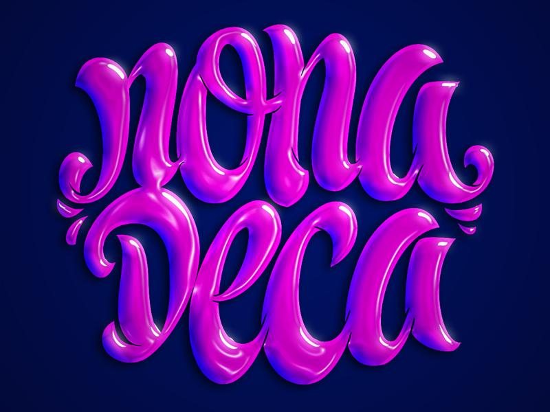 Nonadeca Clothing Pink Logotype Logo 3dnding Script Type Typography Design T Shirt Lettering