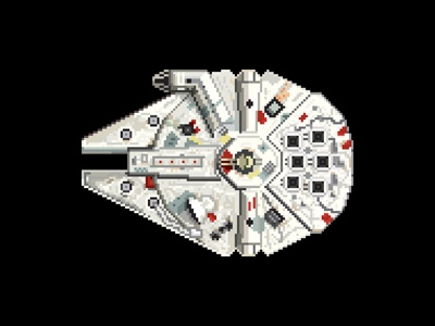 Millenium Falcon 8bit 8-bit star wars pixel millenium falcon illustration