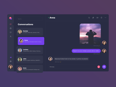 Corporate Messenger App - Dark Version minimal app flat ux ui design
