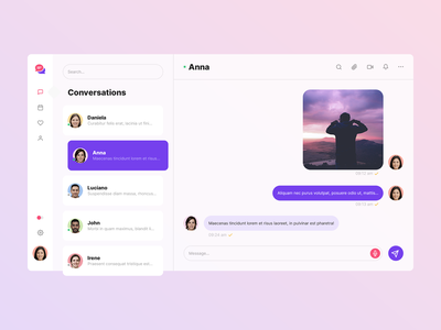 Corporate Messenger App - Light Version minimal app flat ux ui design