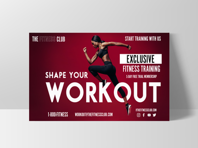 Fitness Club Flyer business card logo design logo logo concept design concept flyer design postcard website design branding design branding