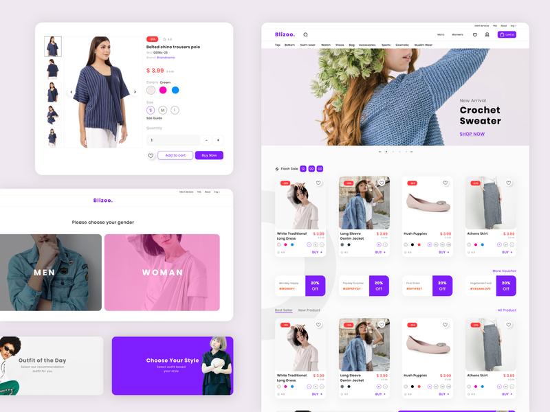 Fashion Store Web UI ecommerce store fashion blue uidesign web