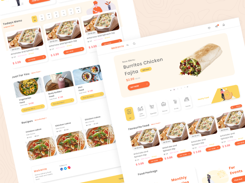 Catering Web Design UI web food ux ui clean design creative