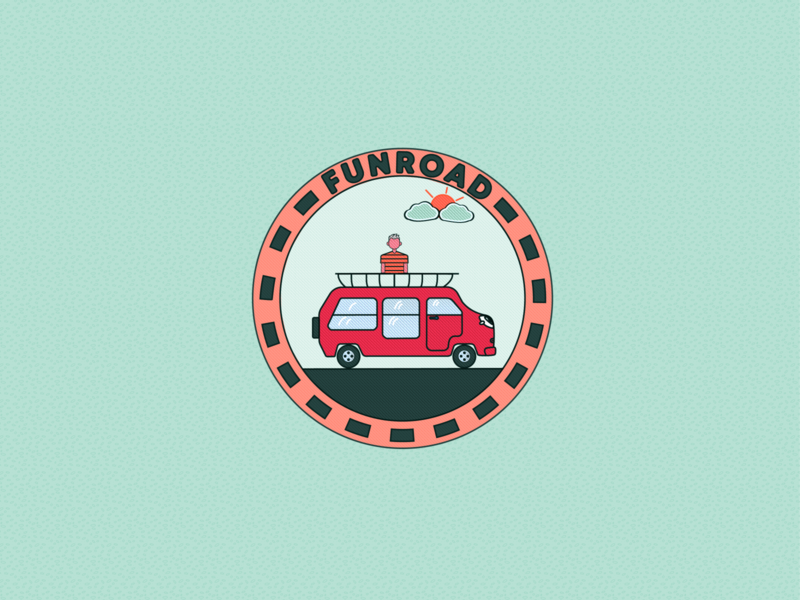 LOGO Funroad typography vector graphic design car kid travel logo illustrator illustration design branding art
