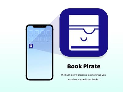 Book Pirate Secondhand Books - App Icon Concept app icon logo app icons app icons book eye patch book pirate pirate puns pirate thrift bookstore secondhand books app icon ecommerce secondhandbooks secondhand dailyui005 dailyuichallenge dailyui