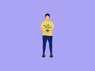 Boy With Plant character plantpot nature human young youth vectorart greem yellow boy hobby plant illustrator adobe illustrator vector illustration 2d dribble design