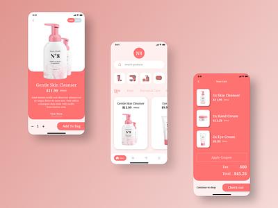 E Commerce Mobile app UI for a Beauty brand ux minimal app icon branding ui design