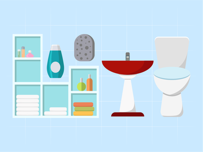 Bathroom Illustration art foam room modern interior design furniture decoration shelf soap shampoo towel sink bathroom vector illustrations