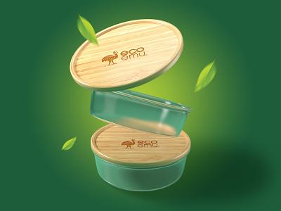 EcoEmu bamboo bird emu branding amazonjay logo logo design food storage eco