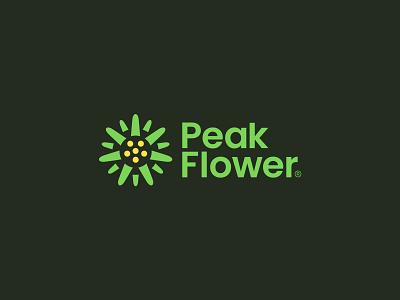 Peak Flower brand branding amazonjay design logo logo design art acrylic flower peak