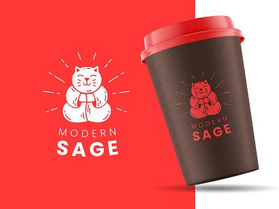 Modern Sage monk pose buddha kitten cat brand branding ground coffee design logo sage modern