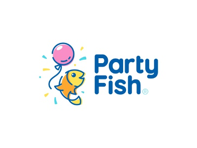 Party Fish balloon happy amazonjay identity brand branding design logo fish party