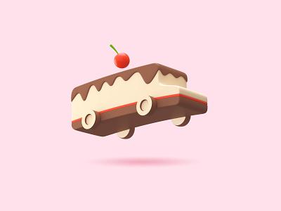 Sweet Delivery 3D cake food bus render 3d 3d model branding logo logo design delivery sweet sweet delivery