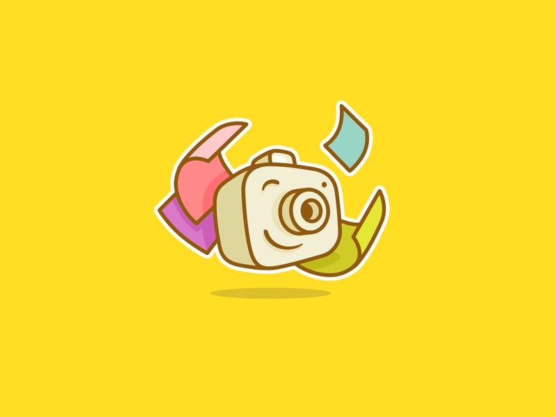 Happy Camera graphic logo design colorful smile happy fun camera