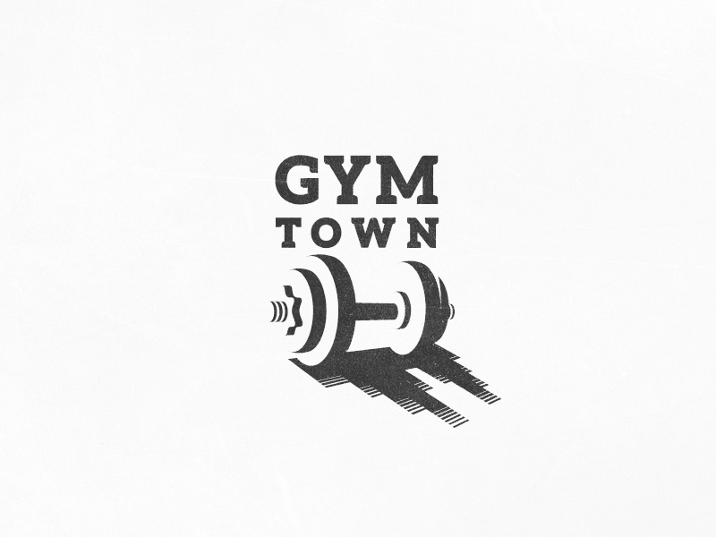 Gym Town design logo space negative town city shadow weights dumbbell buildings towers gym