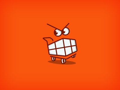 That Angry Cart ancitis design logo game shopping red cart teeth angry