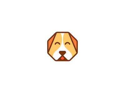 Wooftagon mark face animal logo happy woof puppy dog octagon