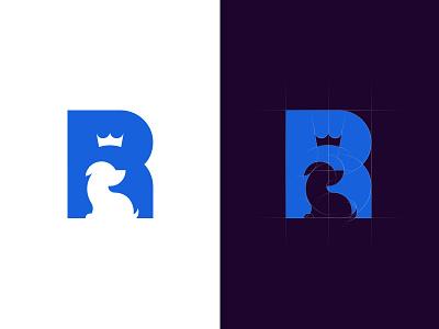 Royal Pet Care space negative royal crown ancitis puppy dog pet letter logo r