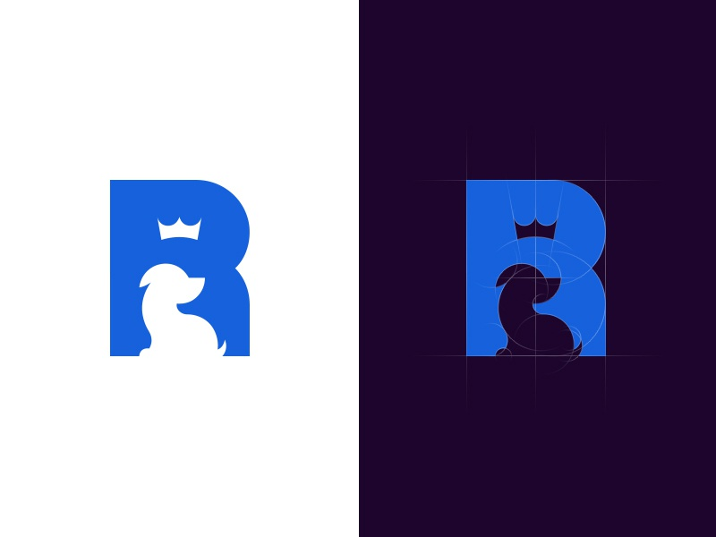 Royal Pet Care space negative royal crown ancitis puppy dog pet letter logo r