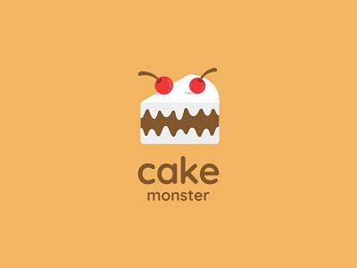 Cake Monster bakery cherry sweet ancitis design logo angry monster dessert cake