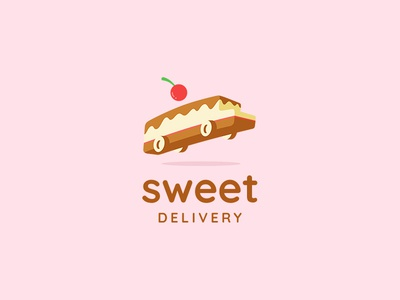 Sweet Delivery desert car ancitis design logo bakery cherry bus delivery cake sweet