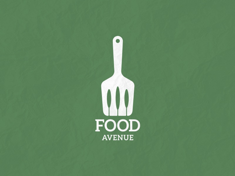 Food Avenue ancitis space negative logo green kitchen food spatula tree trees avenue