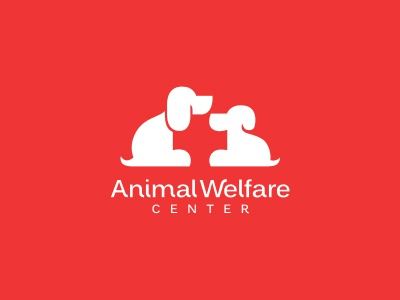 Animal Welfare Center animal welfare center pet dog care shelter cute red white logo design