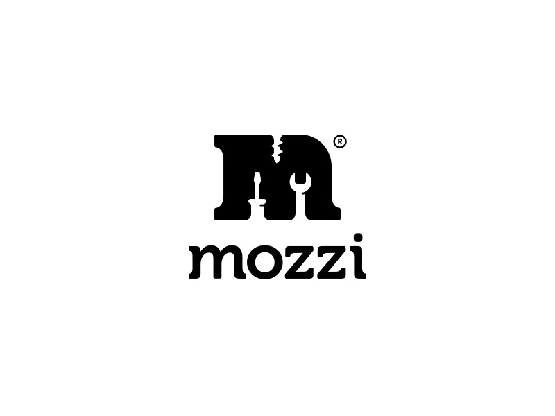 Mozzi ancitis logo hardware screw screwdriver space negative letter m tool tools