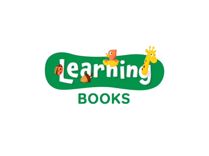 Learning Books ladybug giraffe nest ancitis design logo letters animals children kids book learning