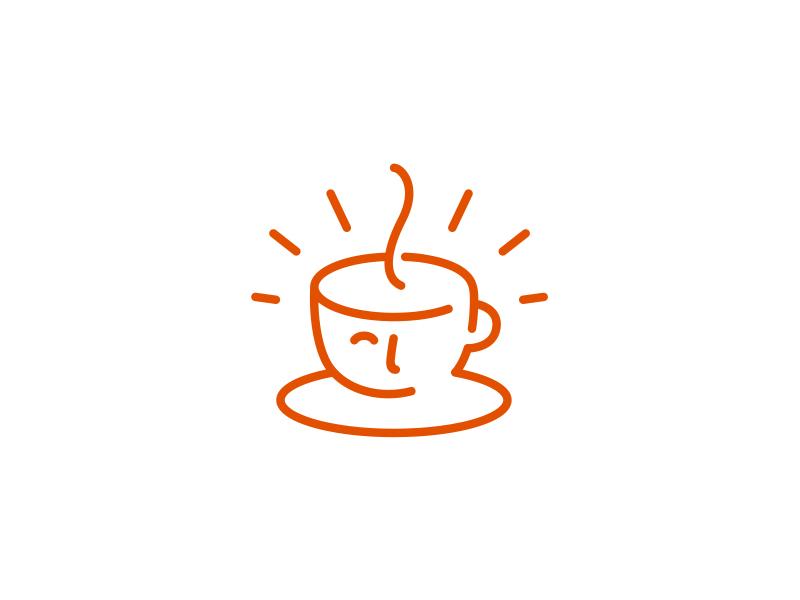 Coffee Cup ancitis mark logo line profile head cup coffee