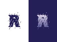 Rain letter night negative space ancitis design logo rain r