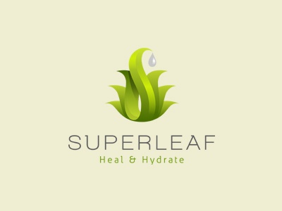 Superleaf aloe vera drink beverage refreshing logo design ancitis
