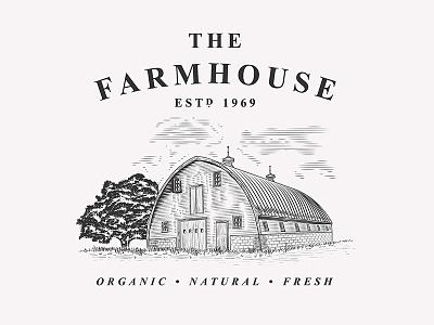 Farmhouse illustration vintage vector retro logo farming branding illustration farmhouse