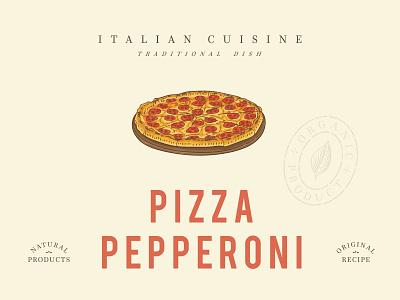 Pepperoni pizza on wooden board retro illustration dish food cuisine vintage retro italia italian pepperoni pizza menu illustration design