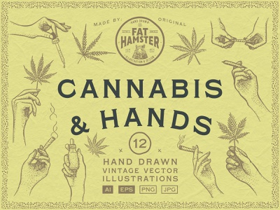 Cannabis and Hands vintage illustration vector set graphic design weed leaf thc hand drawn vintage logo packaging label design marijuana joint preroll dropper hand vector illustration cbd hemp cannabis