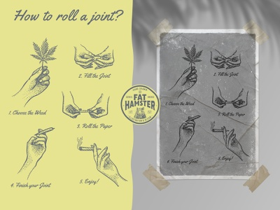 Cannabis and Hands vintage illustration vector set template poster packaging vector branding logo label design illustration hand smoke cbd hemp cannabis pre-roll joint roll weed