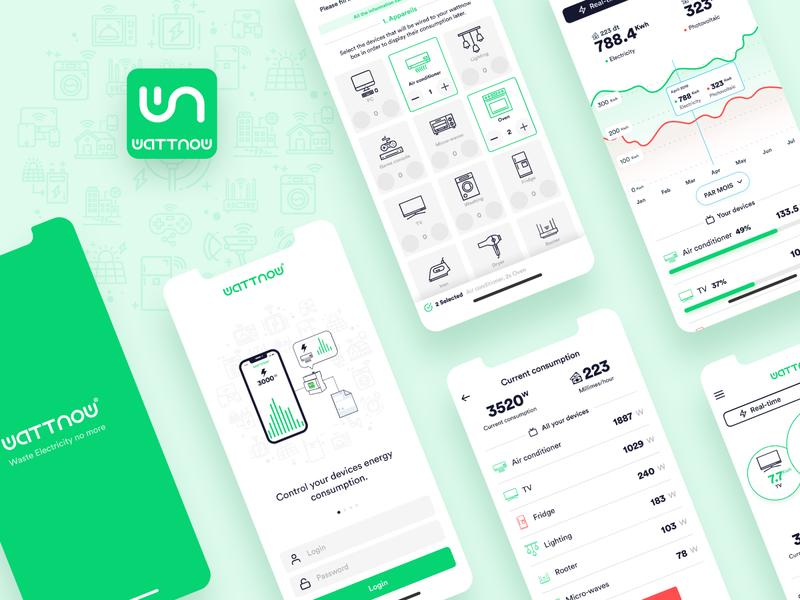 Wattnow : Energy Monitoring App green ui app ux monitoring energy